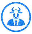 bull boss rounded grainy icon vector image