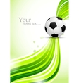 Soccer ball on green wavy background vector image vector image