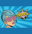 oops beautiful woman with opaque sunglasses vector image