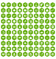 100 viral marketing icons hexagon green vector image