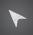 Arrow cursor sketch logo doodle icon vector image