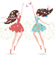 Two girls with flowers on her head vector image