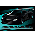Black midnight racer sports car vector image