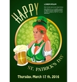 Poster for St Patricks Day with beautiful Irish vector image