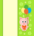 background card with funny pig vector image