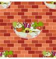 Salad Bowl on Red Orange Brick Wall vector image