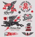 Vintage racing insignia graphics set vector image
