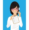 Woman in office receptionist operator vector image
