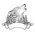 a howling wolf with ribbon vector image