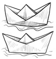 doodle paper boats vector image vector image