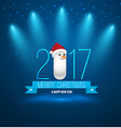 2017 Merry Christmas and Happy New Year with snow vector image