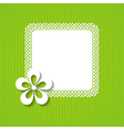 green background with a frame and a flower vector image vector image