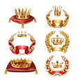 Icons golden crowns and laurel wreaths vector image