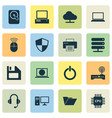 laptop icons set collection of monitor tree vector image
