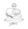 beautiful pillows and cute little angel vector image