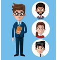 cartoon business man holds folder group people vector image