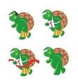 four cartoon turtles vector image