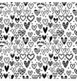 hand drawn seamless pattern with hearts wedding vector image