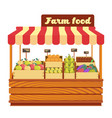 market wood stand with farm food and vegetables in vector image