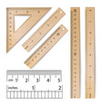 school rulers realistic classic wooden vector image
