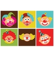 set of colorful clowns vector image