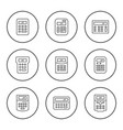 set round line icons of calculator vector image