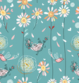 texture of daisies and birds vector image vector image