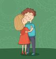 girl kissing boy on the cheek vector image vector image