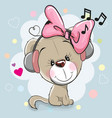 cute cartoon dog with headphones vector image