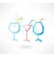 three cocktails grune icon vector image vector image