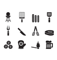 Silhouette picnic and grill icons vector image vector image