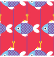 Seamless-Fish-and-Fishing-Pole-pattern- vector image