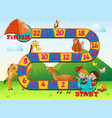boardgame design with animals and kids vector image