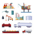 oil exploration petroleum factory with platforms vector image
