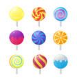 realistic detailed 3d lollipops candy set vector image