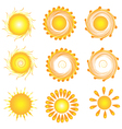 Suns twirly set vector image