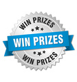 win prizes 3d silver badge with blue ribbon vector image