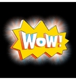 Wow lettering in cartoon comic bubble black vector image