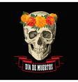 skull in wreath of marigolds vector image