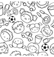 Doodle kids faces pattern vector image vector image