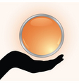hand holding the gold button vector image vector image