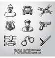 Set of police freehand icons vector image