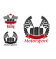 Motorsport competition icons with wheels and flags vector image vector image