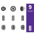 black tire icons set vector image