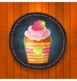 cupcake with chocolate raspberry vector image