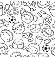 Doodle kids faces pattern vector image