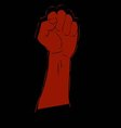 hand clenched fury of red on black vector image