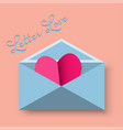 Happy valentine day of red heart in letter vector image