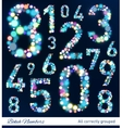 Set of numbers from bokeh lights vector image
