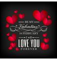 Valentines day red heart on black background vector image